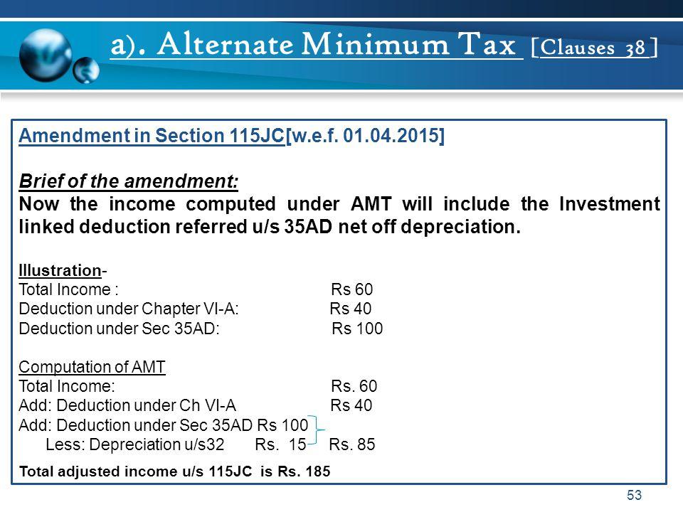 a). Alternate Minimum Tax [Clauses 38 ]